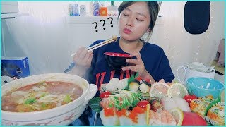 Seafood #3 - SUSHI + Spicy Seafood Udon Soup Mukbang!