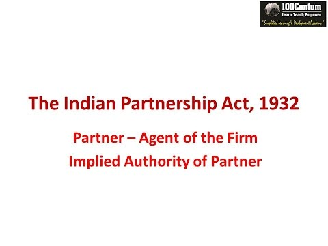 Indian Partnership Act 1932 - Part 9 - Implied Authority of Partner CA-CPT (in Hindi)