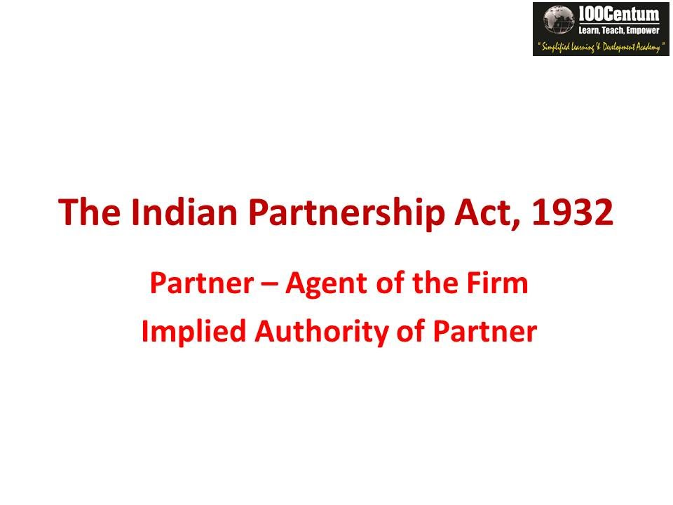 partnership act 1932 summary