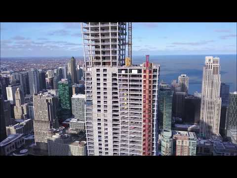 Vista Tower construction Jan 19' + Wolf Point East  | Chicago DJI Drone Aerial | HD