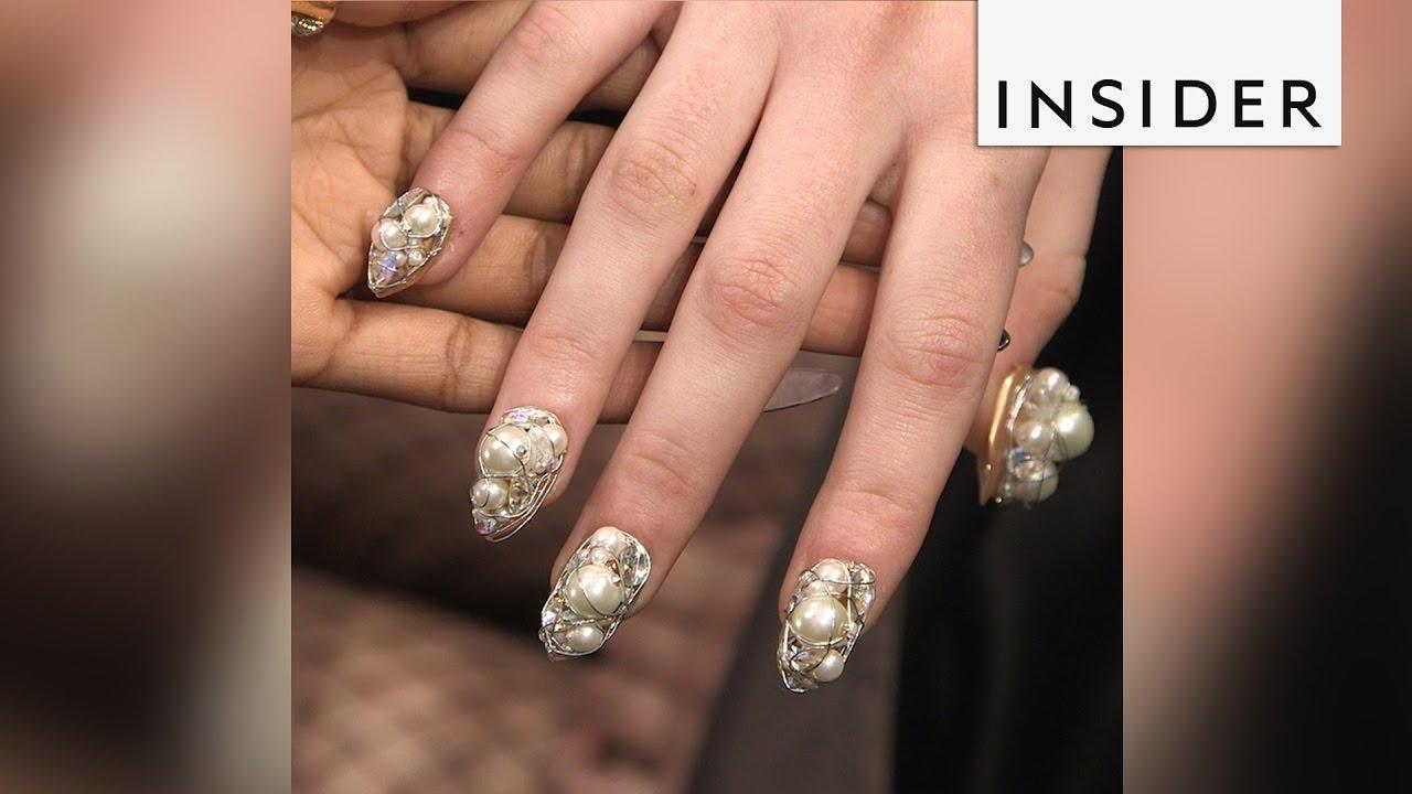 Creative Nail Design Handmakes Gemstone Nails Youtube