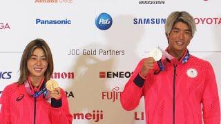 「サーフィンのすごさ、みせられた」 銀銅メダル獲得の2人が会見