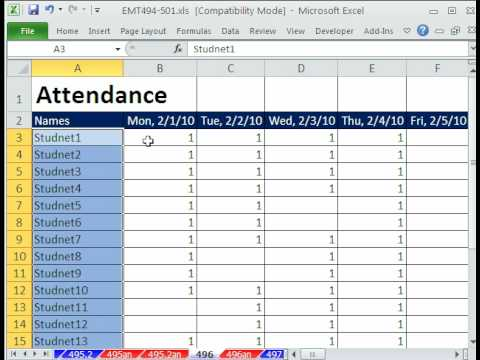 Excel Magic Trick 496: Attendance Sheet with Freeze Pane, IF & SUM functions, Custom Date Formatting