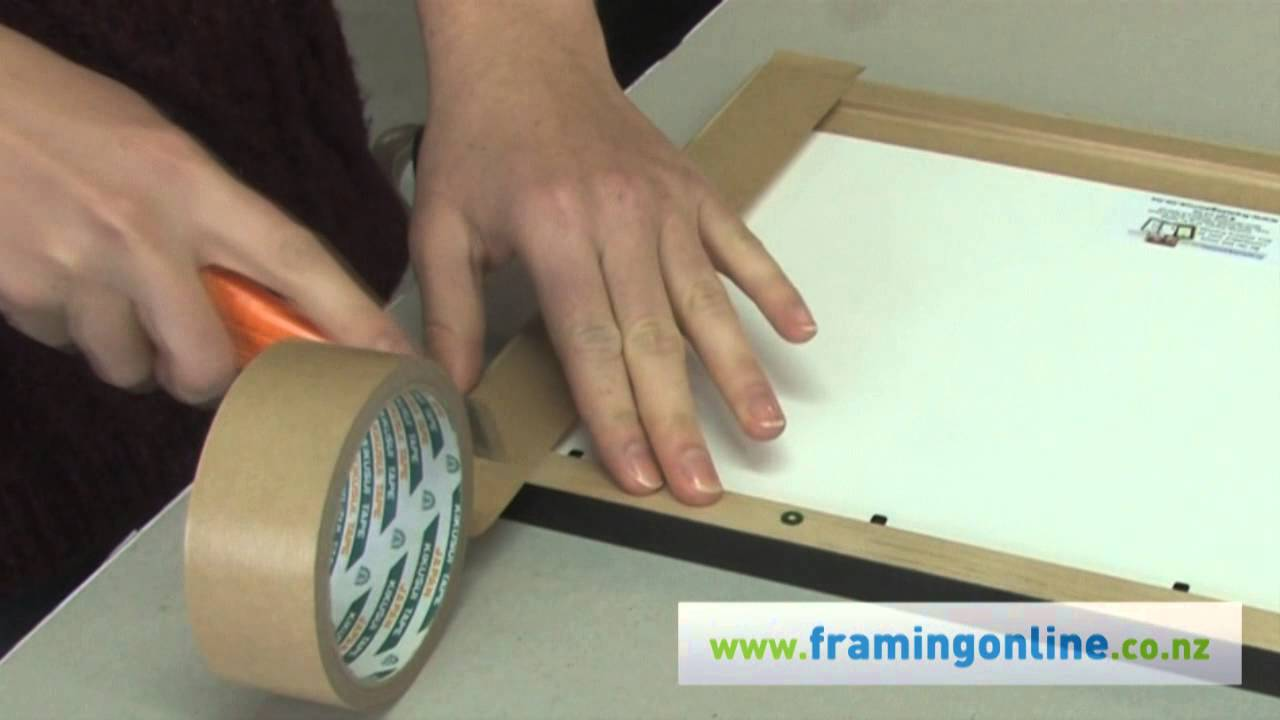 How To Frame A Picture Taping The Back Youtube