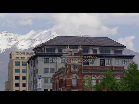 Zoomed view of financial buildings towards Timpanogos Mountain