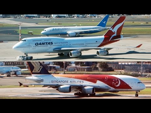 Sydney Kingsford Smith Airplane Video Spotting on a sunny Winter's Day! [AirClips]