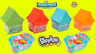 4 Zomlings Blind Bag Houses + 2 Shopkins Season 3 Mystery Baskets Surprise Toys Unboxing Video