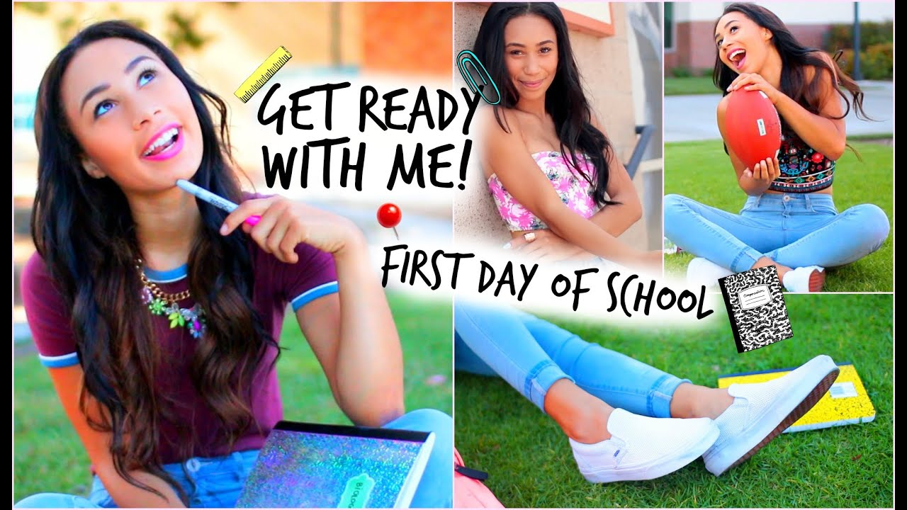 b61a988214fa Get Ready With Me! First Day Of School Hair Makeup + 3 Denim Outfits ...