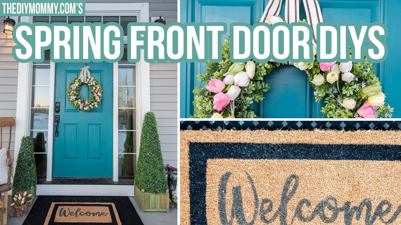 DIY SPRING FRONT DOOR DECOR | How To Make A Tulip Wreath U0026 Welcome Mat