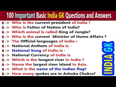 100 Simple GK General Knowledge Questions and Answers for Kids, School students, Children   India GK