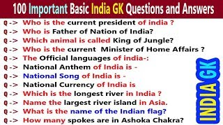 100 Simple GK General Knowledge Questions and Answers for Kids, School students, Children | India GK