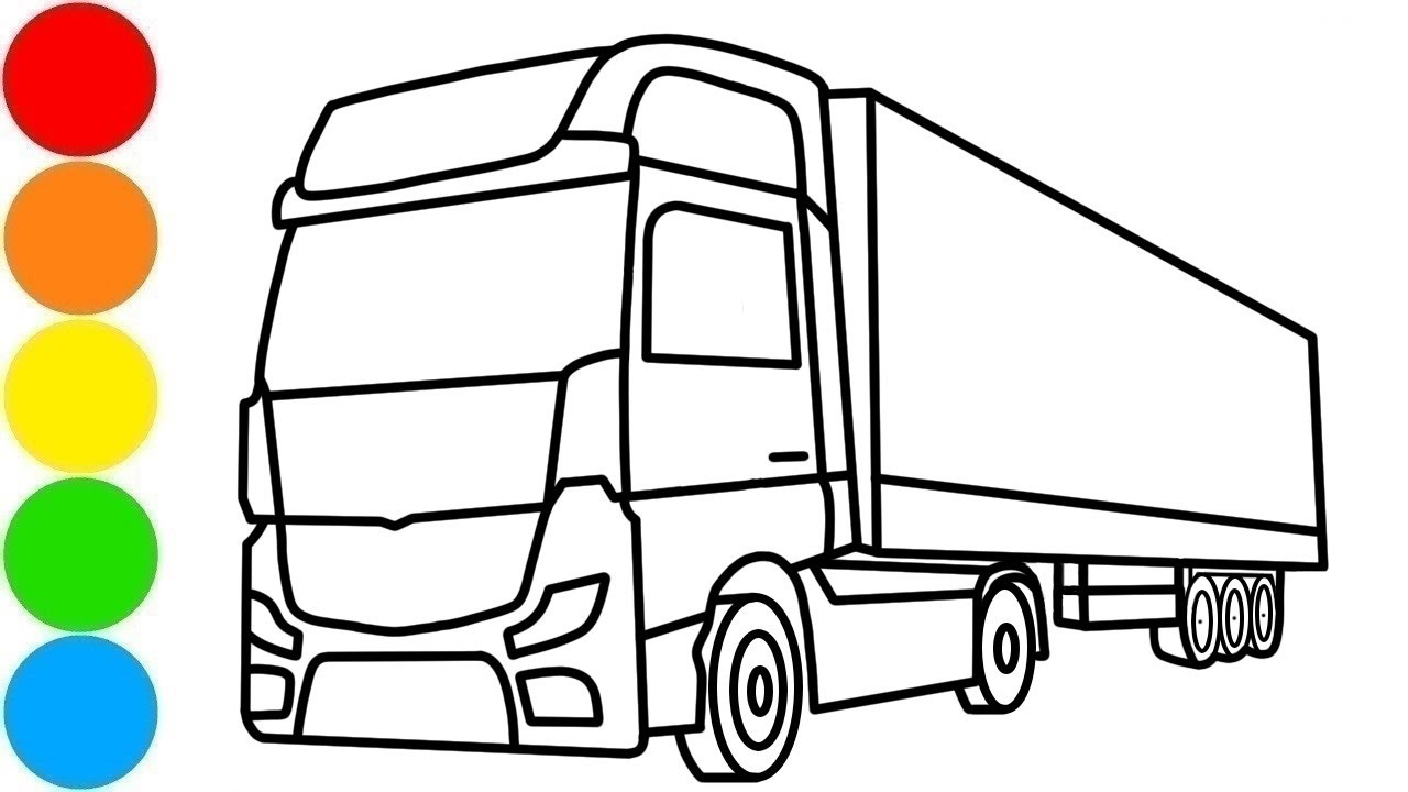 Drawing and Coloring Huge Transportation Truck with Paint