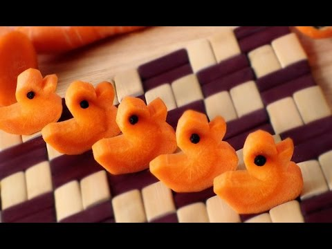 How to Make Five Little Ducks | Vegetable Carving Garnish | Carrot Ducks | Party Food Decoration