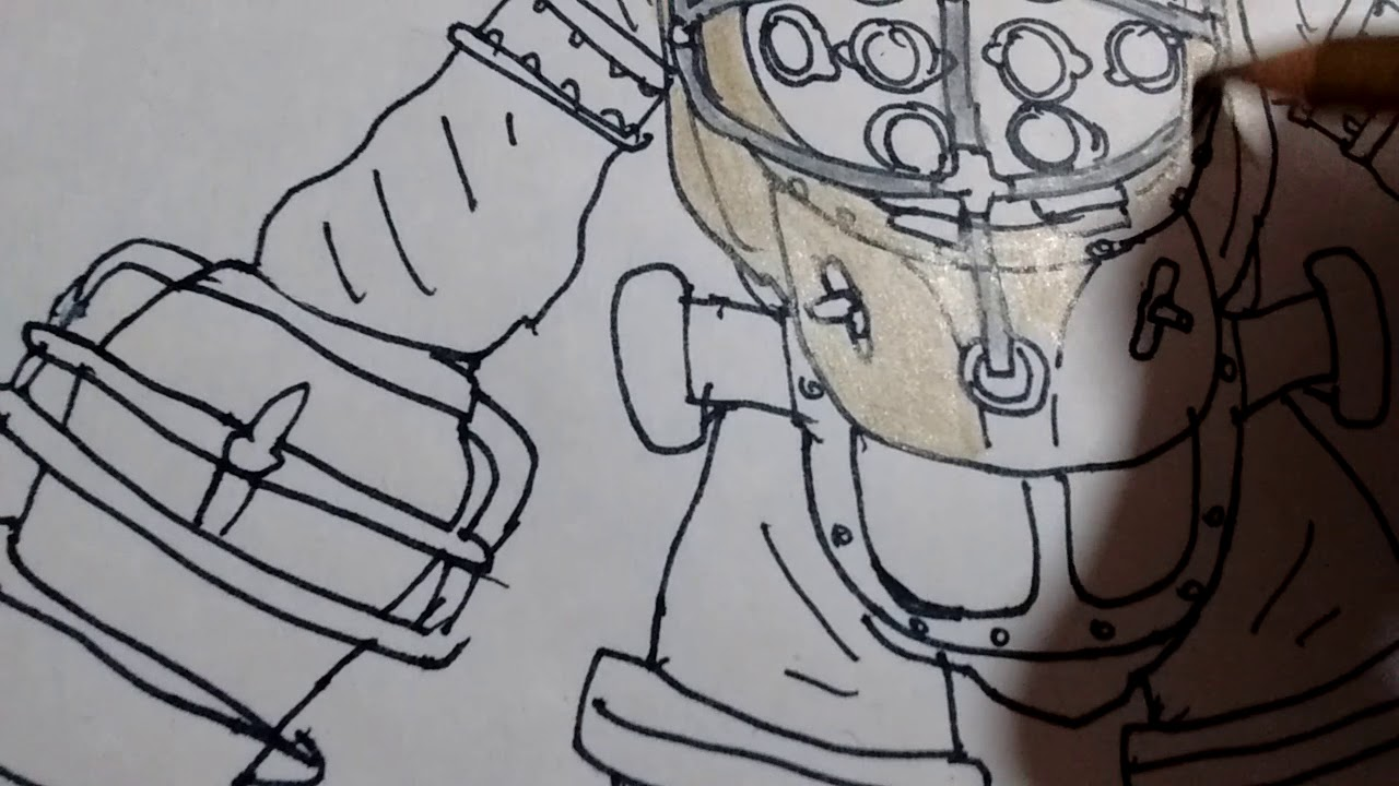 Como Pintar A Big Daddy De Bioshock 3 Partes How To Draw Big Daddy From Bioshick Parte 3