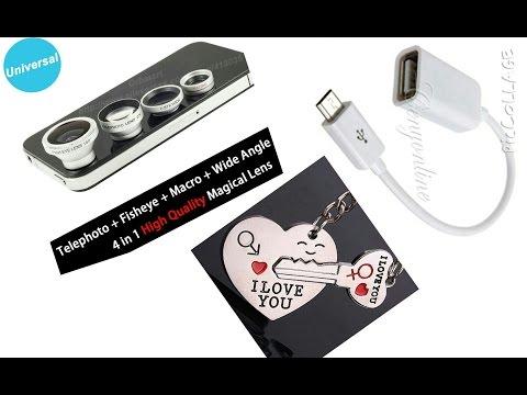 Посылки с AliExpress ( линзы на телефон, USB кабель-переходник, кулон для влюбленных)