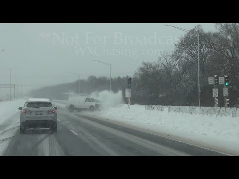 Crazy Accident Caught On Dash Cam, Heavy Snow Icy Condition - Milwaukee, WI - 1/28/2019
