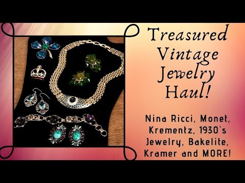 Treasured Vintage Jewelry Nina Ricci, Kramer, Judy Lee, Monet, Bakelite