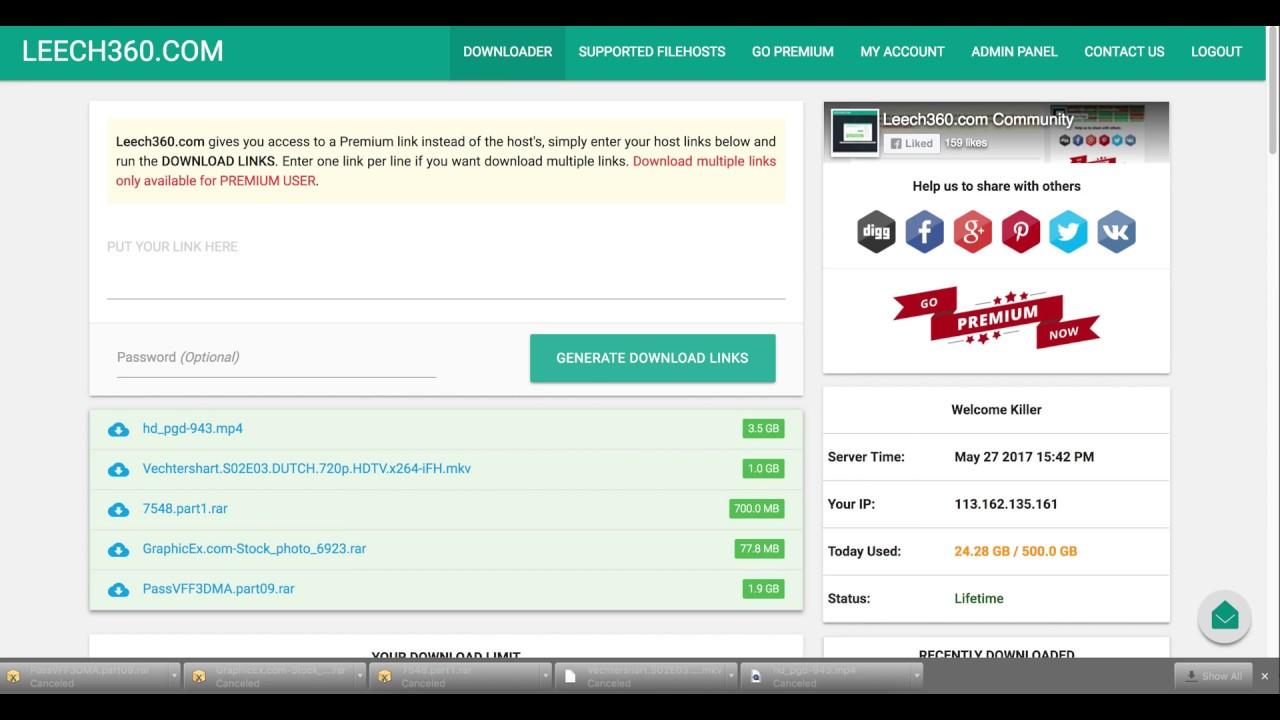 Download Premium Filehosting From Leech360 com