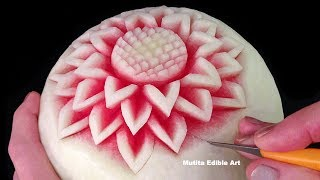 Repeat youtube video Simple Watermelon Flower Style - Int Lesson 1 By Mutita Art Of Fruit And Vegetable Carving Video