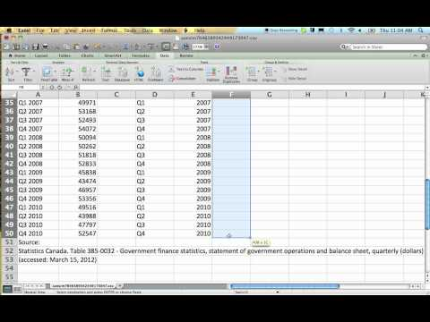 How to convert quarterly data to annual data using Excel