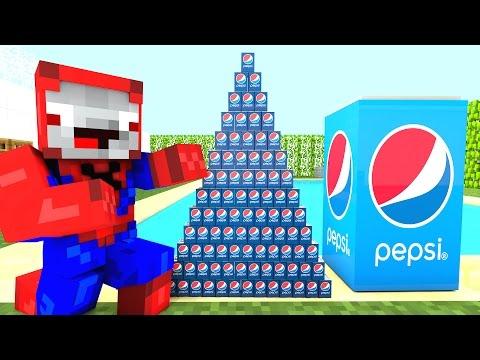 AMAZING PEPSI CHALLENGE! Movie Kids Toys w/ Spiderman, Hulk & Joker Coke Coca Cola FUN in Minecraft