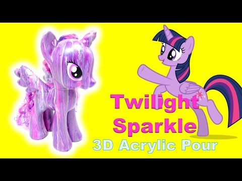 DIY Custom Twilight Sparkle My Little Pony Art Project 3D Acrylic Pour