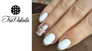 White Stars & Golden Glitter Nail Art - Дизайн ногтей: Белые звезды золотые блестки
