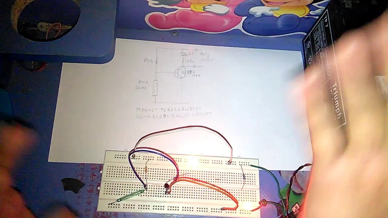 Magnet To Reed Switch Using Transistor Bc547 Relay Circuit Youtube