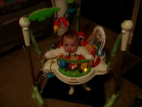 Katie Erickson in her new Jumperoo