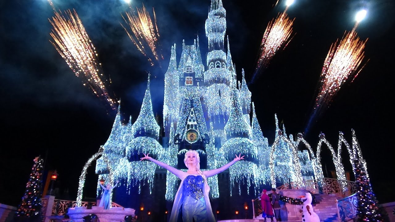 new christmas decorations at walt disney world first castle lighting youtube