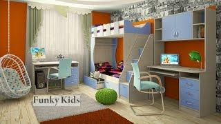 Двухъярусная кровать «Фанки Кидз 5». Матрац. Шкаф. Лестница. Комод. Мебель