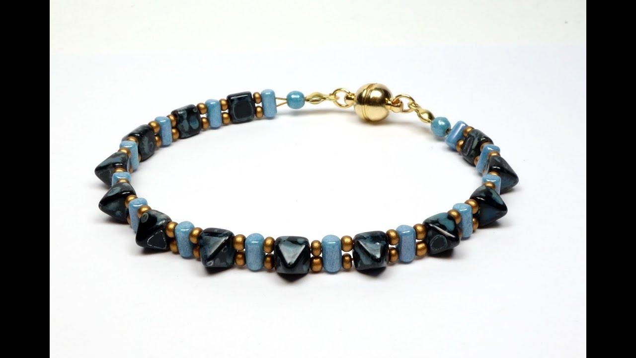 schmuck selber machen armband aus pyramide perlen und. Black Bedroom Furniture Sets. Home Design Ideas