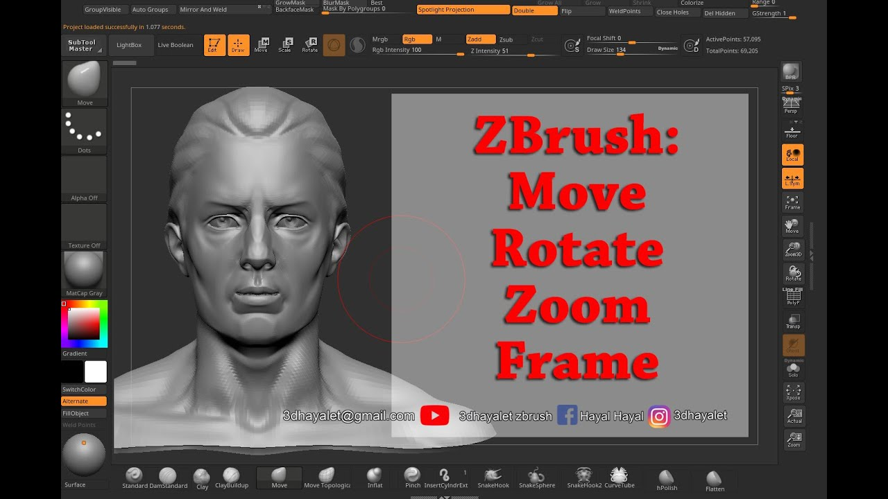 Zbrush Move Zoom Rotate Frame Youtube