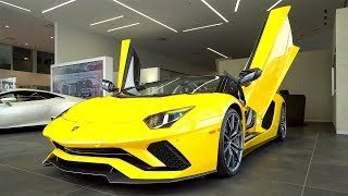 Overview of a 2018 Lamborghini Aventador S LP740-4 Roadster in Giallo Orion/Carplay!!! 4K