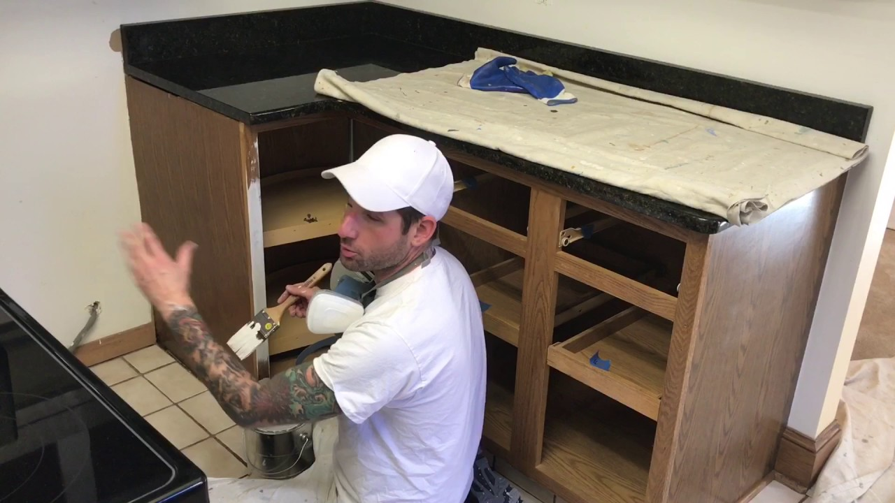 How To Paint Oak Kitchen Cabinets YouTube