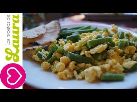 Desayuno Saludable HUEVO CON EJOTES ♥ Scramble Eggs with green beans