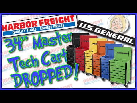 """Harbor Freight Just Dropped the New U.S. General 34"""" Full Bank Service Cart"""