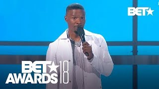 Jamie Foxx Praises Black Panther & Michael B Jordan | BET Awards 2018