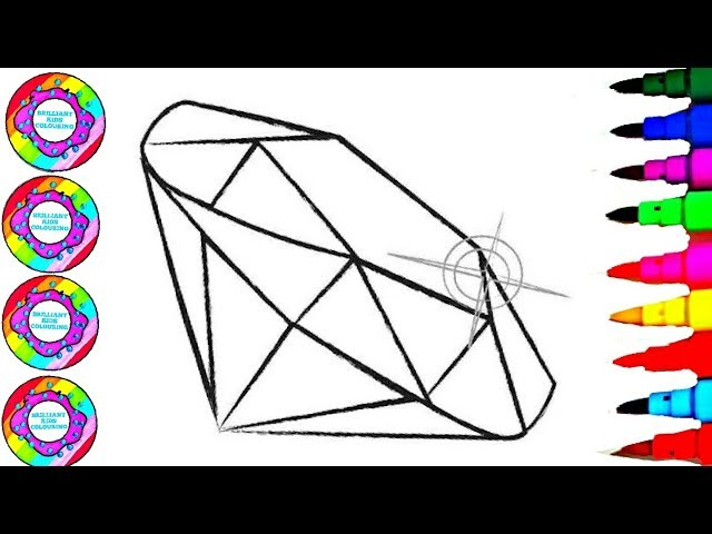 Drawing and Colouring Fairy Gemstones With Glitters Rainbow Markers Coloring Pages for Kids