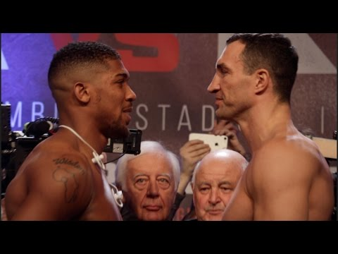 ANTHONY JOSHUA v WLADIMIR KLITSCHKO - OFFICIAL WEIGH IN & HEAD TO HEAD @ WEMBLEY /JOSHUA v KLITSCHKO