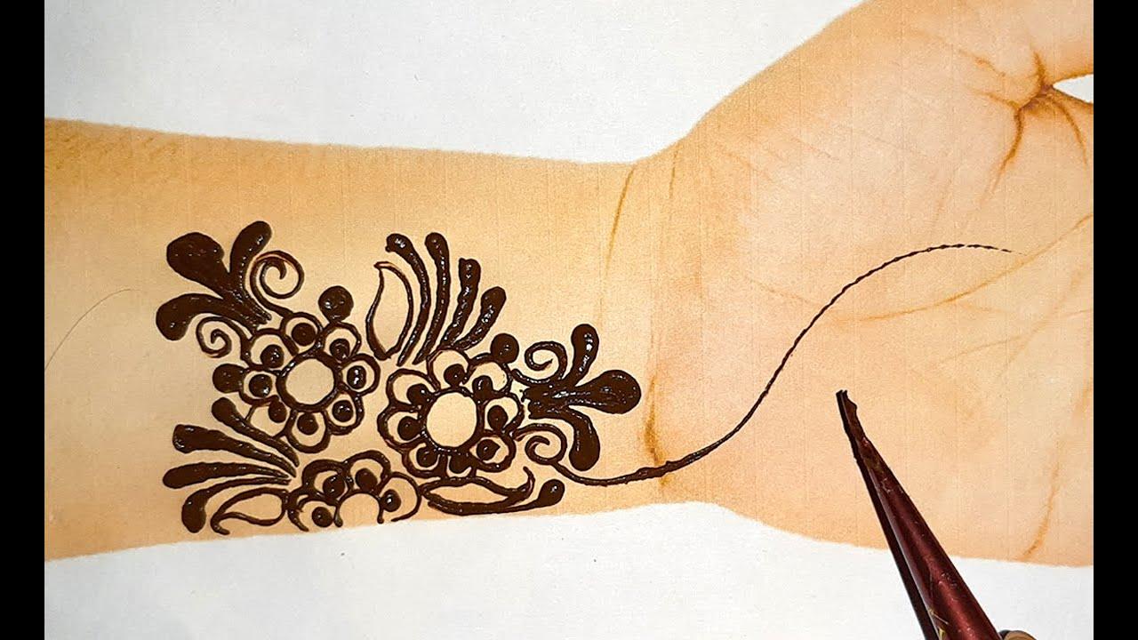 very easy Front hand mehndi design-easy Arabic gol tikki mehndi-Eid/Rakhi special mehandi design