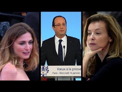 Hollande face à la presse, sa compagne hospitalisée