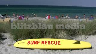 Stock Footage Europe Germany Baltic Sea Beach Mecklenburg-Vorpommern Ostsee Strand Surf Rescue