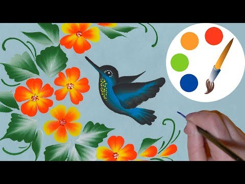How to paint a Hummingbird, One Stroke for beginners, irishk