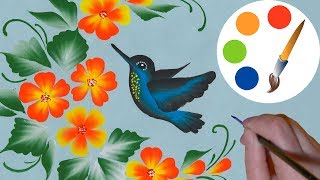 How to paint a Hummingbird, One Stroke for beginners, irishkalia