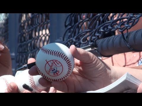 Special moments for a young boy & girl seeking MLB autographs at New York Yankees spring training