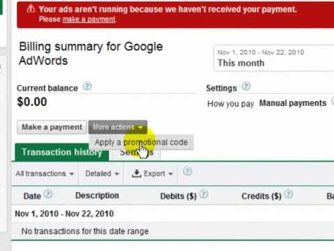 applying google adword coupon code for already register accounts