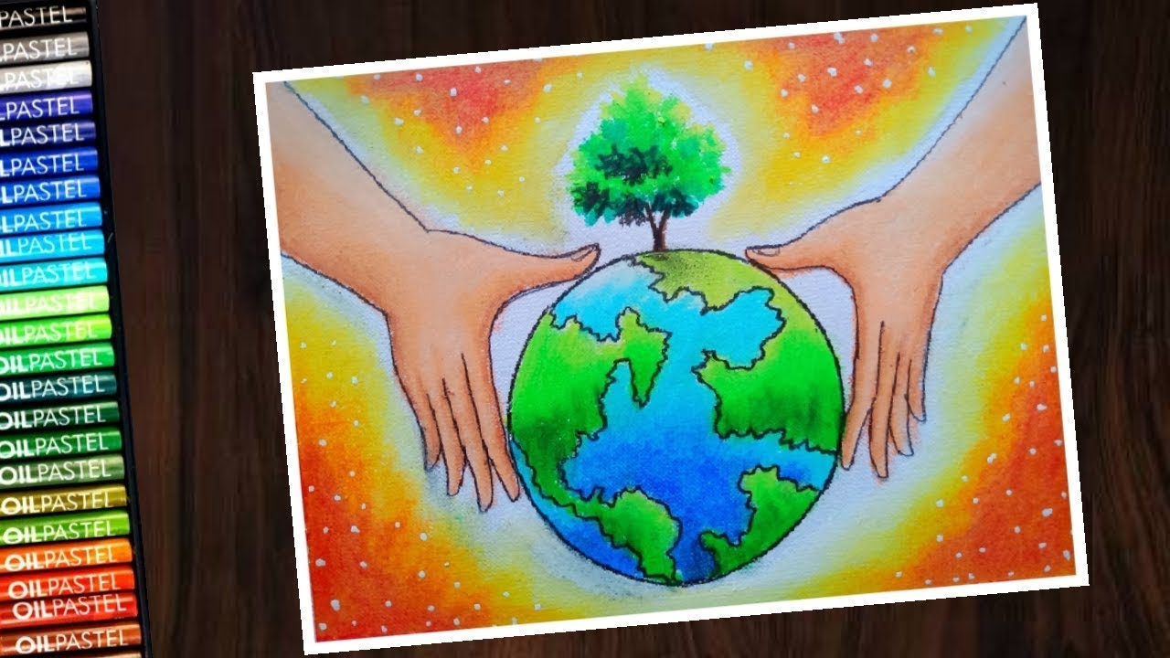 How to draw save environment save tree ( world Environment day ) poster drawing - step by step #1