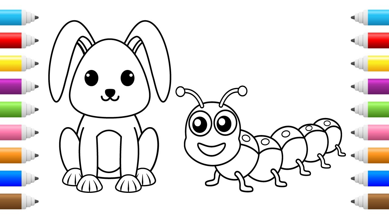 Cute Bunny Coloring  Learn how to Draw and Color Animals
