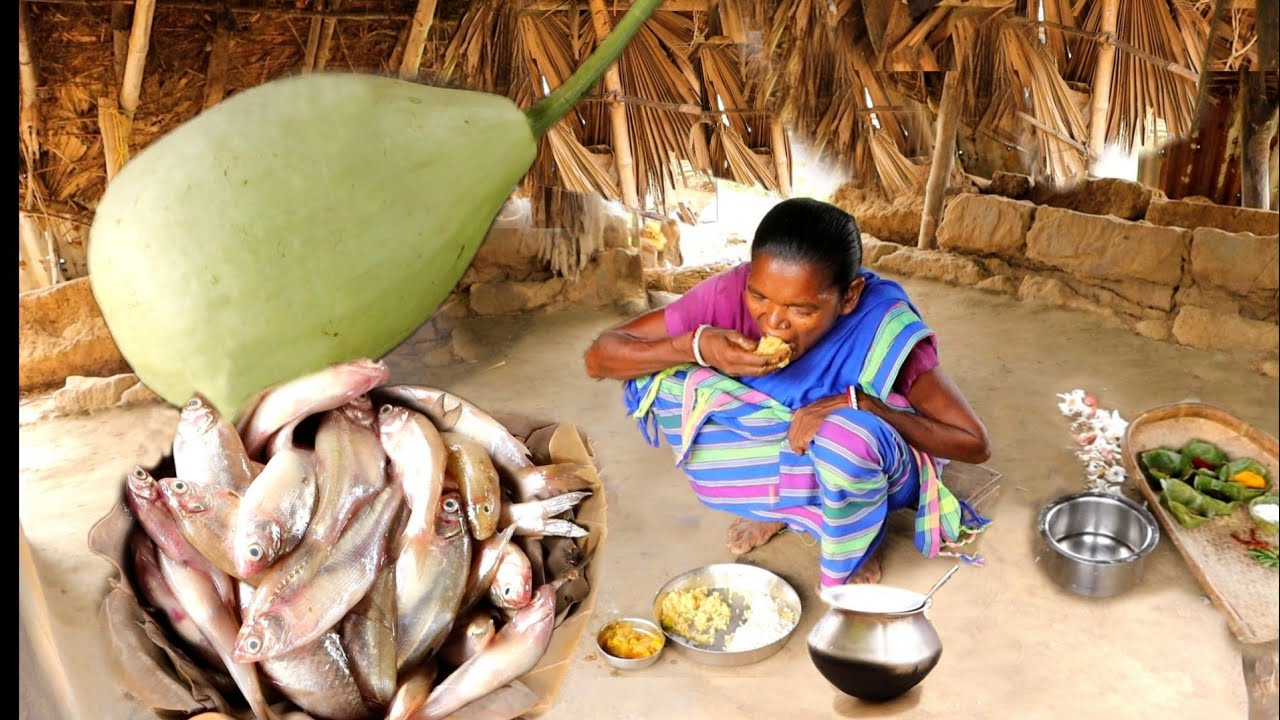 Download SMALL FISH recipe with BOTTLE GOURD cooking in tribal method by our santali grandma | rural india